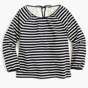 J Crew Striped Peasant Top Tie Back Boho Navy Blue